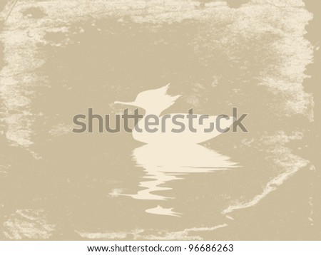 duck in water on grunge background, vector illustration - stock vector