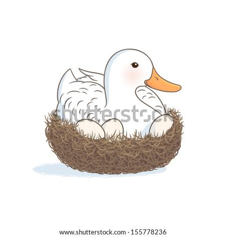 Duck on the nest - stock vector