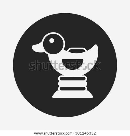 duck riding icon - stock vector