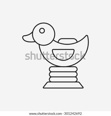 duck riding line icon - stock vector