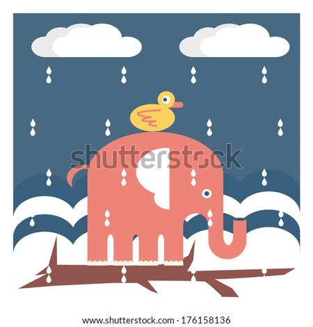 Ducky Riding Elephant in the Rain - stock vector