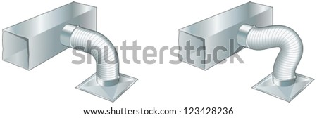 Ductwork, air conditioning, ventilation, heating - stock vector