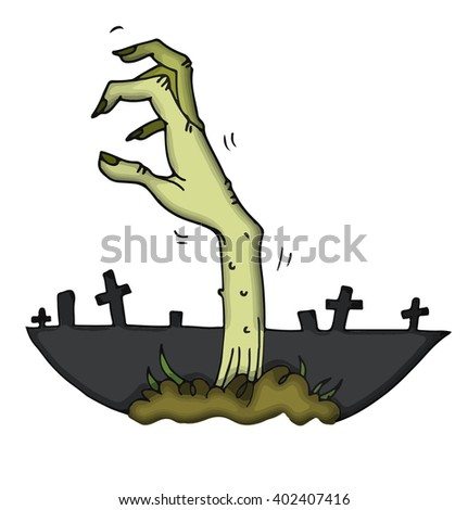 Due to the ancient curse hand of a risen from the dead zombie stretches out from the cemetery land to seize his victims on Halloween night - stock vector