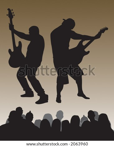 Dueling strings and crowd vector.  Can be resized to one's desire. - stock vector
