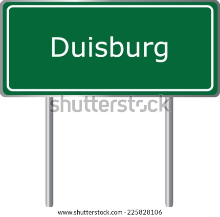 Duisburg, Germany, road sign green vector illustration, road table - stock vector