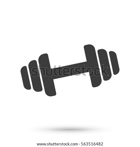 Dumbbell Icon On White Background Dumbbell Stock Vector ...