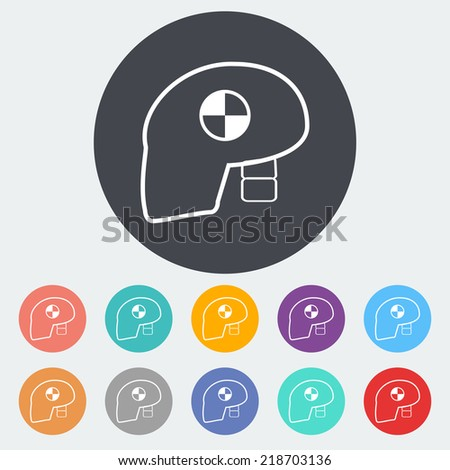 Dummy's head for crash test. Single flat icon on the circle. Vector illustration. - stock vector