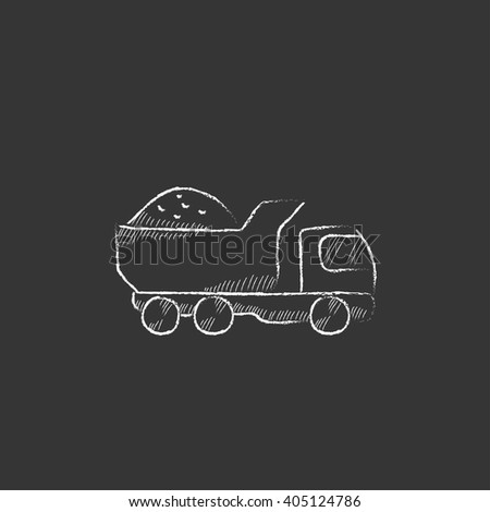 Dump truck. Drawn in chalk icon. - stock vector