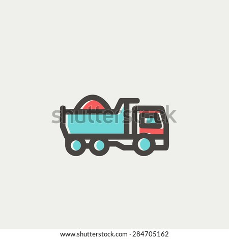 Dump truck icon thin line for web and mobile, modern minimalistic flat design. Vector icon with dark grey outline and offset colour on light grey background. - stock vector