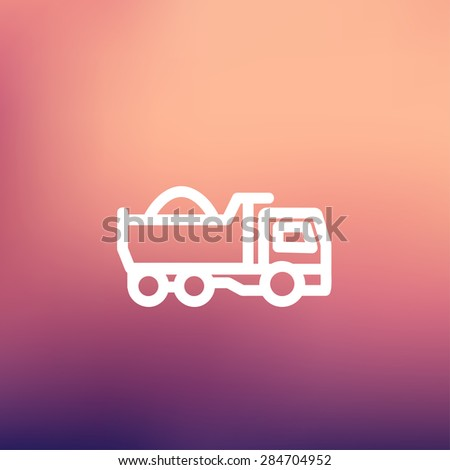 Dump truck icon thin line for web and mobile, modern minimalistic flat design. Vector white icon on gradient mesh background. - stock vector