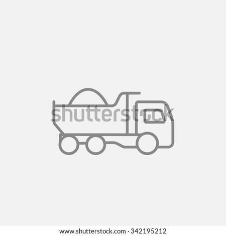 Dump truck line icon for web, mobile and infographics. Vector dark grey icon isolated on light grey background. - stock vector