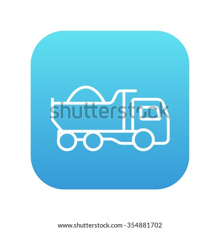 Dump truck line icon for web, mobile and infographics. Vector white icon on the blue gradient square with rounded corners isolated on white background. - stock vector