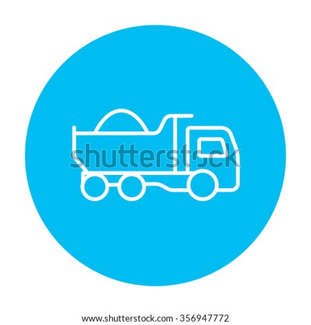 Dump truck line icon for web, mobile and infographics. Vector white icon on the light blue circle isolated on white background. - stock vector