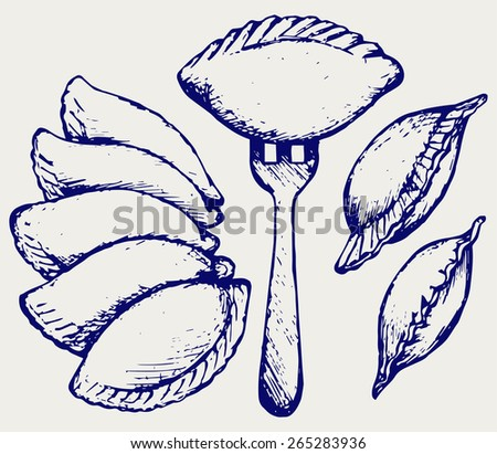Dumplings, food set. Doodle style  - stock vector