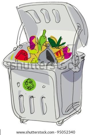 dumpster - cartoon - stock vector