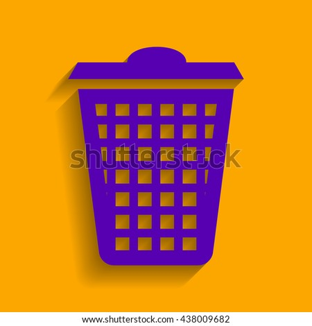 Dustbin vector icon. Violet icon with shadow on orange background. - stock vector