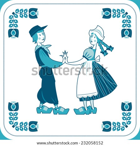 Dutch Delft blue tile with a couple. Vector illustration. - stock vector