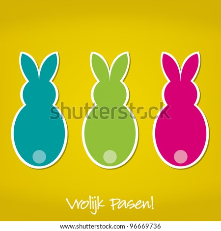 Dutch Easter Bunny card in vector format. - stock vector