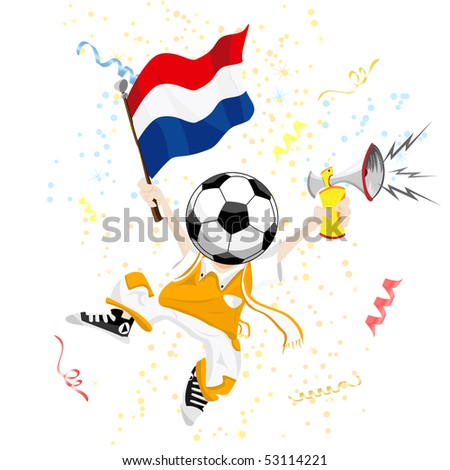 Dutch Soccer Fan with Ball Head. Editable Vector Illustration - stock vector