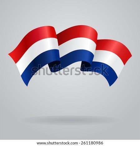 Dutch waving Flag. Vector illustration Eps 8. - stock vector