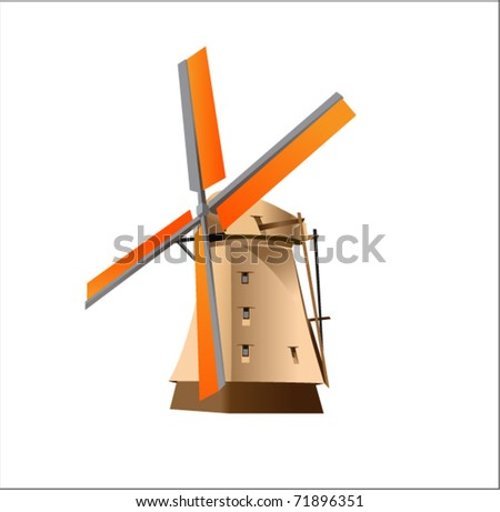 Dutch Windmill - stock vector