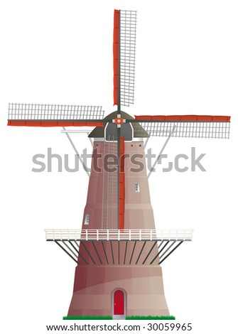 Dutch windmill isolated on white background - stock vector
