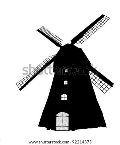 Dutch windmill silhouette (vector) - stock vector