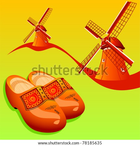 Dutch wooden shoes (klompen) and windmills - stock vector