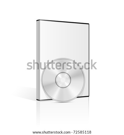 DVD case and disk on white background. Vector illustration. - stock vector