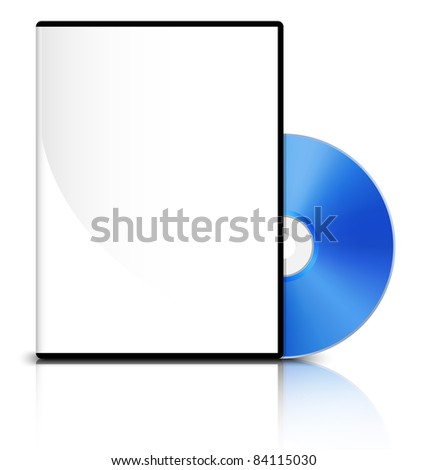 DVD case with a blank cover and shiny blue DVD disk, Vector - stock vector