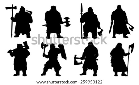 dwarf silhouettes on the white background - stock vector