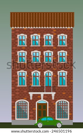 Dwelling house. Classical town architecture. Vector historical building. City infrastructure. Cityscape old red brick house. Real estate. Urban village landscapes elements. Townhouse facade. Green car - stock vector