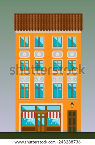 Dwelling house in Classicism style. Classical town architecture. Vector historical building. City infrastructure. Cityscape old cafe. Real estate. Elements for urban village landscapes. Townhouse. - stock vector