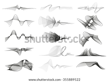 Dynamic abstract sound wave symbol illustration on dark background - stock vector