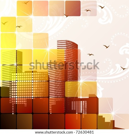 Dynamic cityscape in brown. Includes transparencies (EPS10); jpg version also available - stock vector