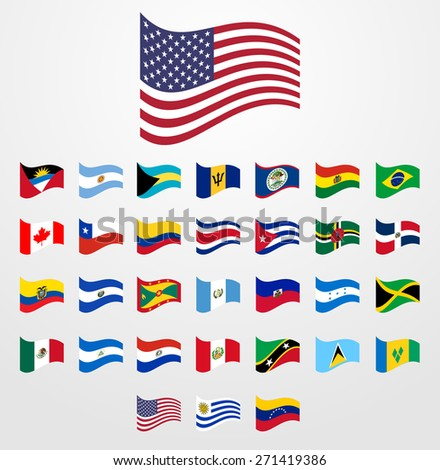 Dynamic waving flag collection 1/6 American continents - stock vector