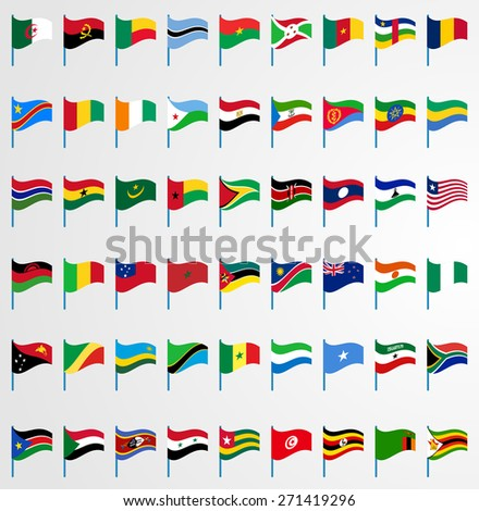 Dynamic waving flag on pole collection 6/6 Africa - stock vector