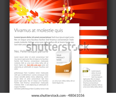 Dynamic website template - red and yellow version - stock vector