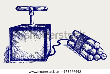 Dynamite bomb with timer. Doodle style - stock vector