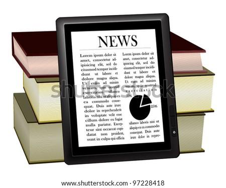 E-book and paper books. Alternative. - stock vector