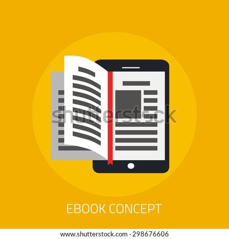 e-book concept in flat design - stock vector
