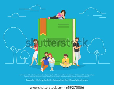 E-book concept vector illustration of young people using smartphones and tablet pc for reading interesting books and education. Flat design of guys and girls sitting near big book and reading