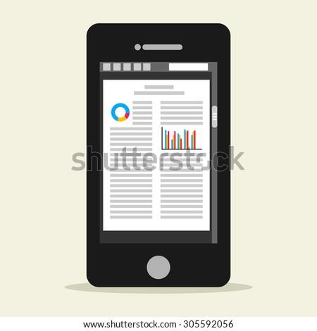 E-book mobile phone concept. Digital book. - stock vector