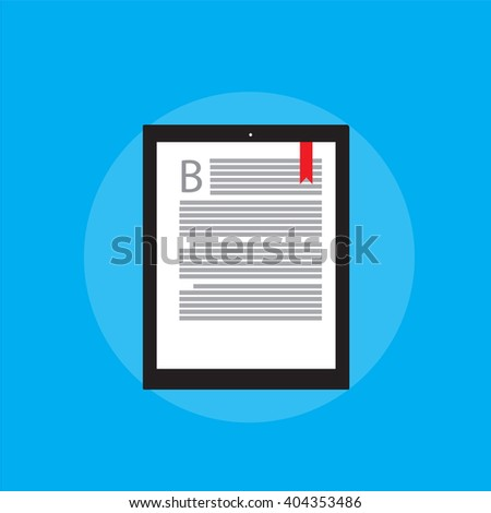 E-book reader on blue backgrond and modern education. In flat style.  - stock vector