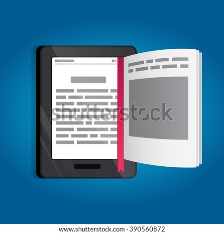 E-book, vector, tablet, page