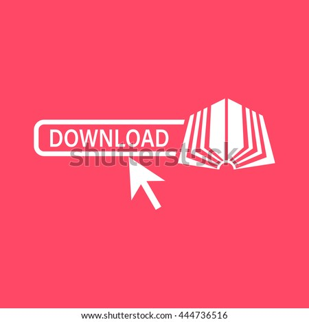 E-Book white icon on magenta color background. Eps-10. - stock vector