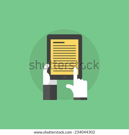 E-book with text information, hand holding electronic book with educational information. Flat icon modern design style vector illustration concept. - stock vector
