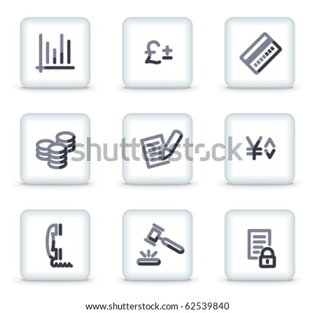 E-business icons, white square glossy buttons