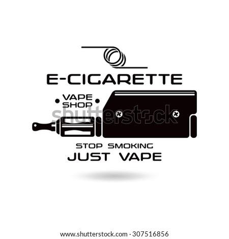 E-cigarette emblem. Vape shop. Black print on white background - stock vector