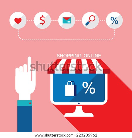 E-commerce concept. Person choosing a shop to buy, sell products. Online shopping, sale. Vector illustration - stock vector